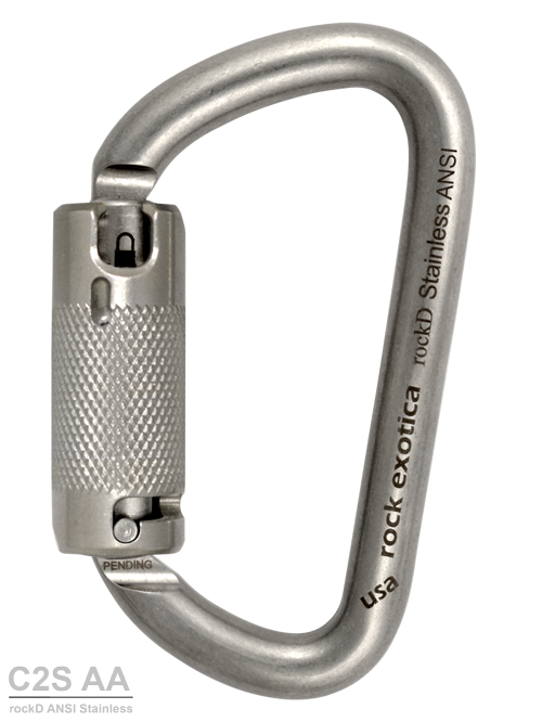 Rock Exotica RockD Stainless Steel ANSI Carabiner With Lanyard Pin